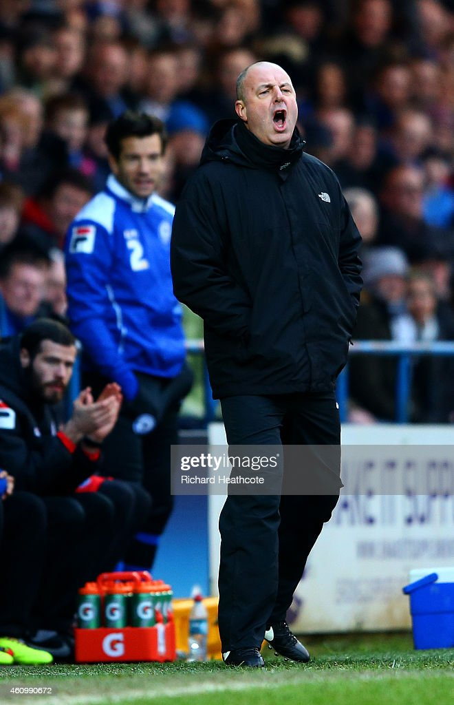 Keith Hill manager of Rochdale reacts on the touchline during the FA Cup Third Round match between Rochdale and Nottingham Forest at Spotland Stadium...