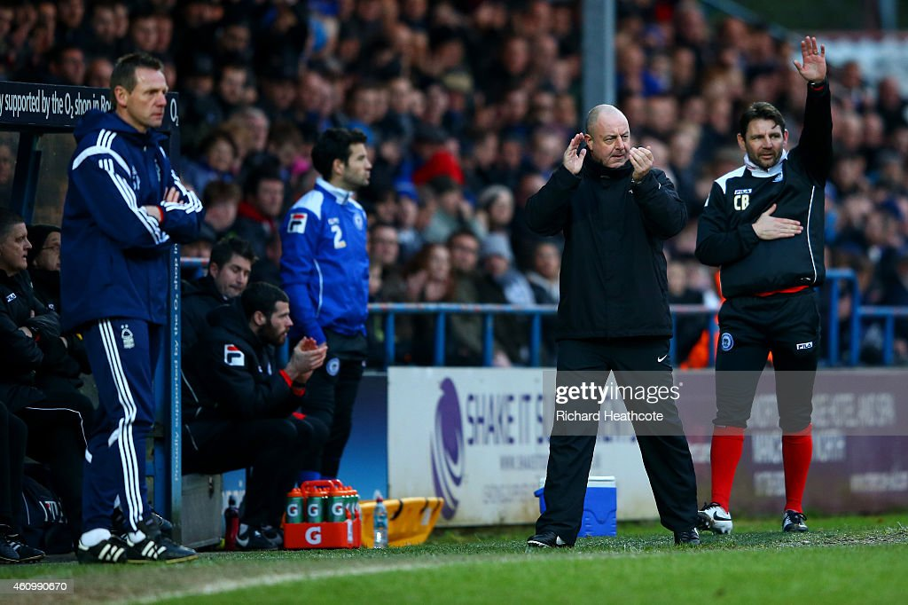 Keith Hill manager of Rochdale reacts on the touchline next to Stuart Pearce manager of Nottingham Forest during the FA Cup Third Round match between...