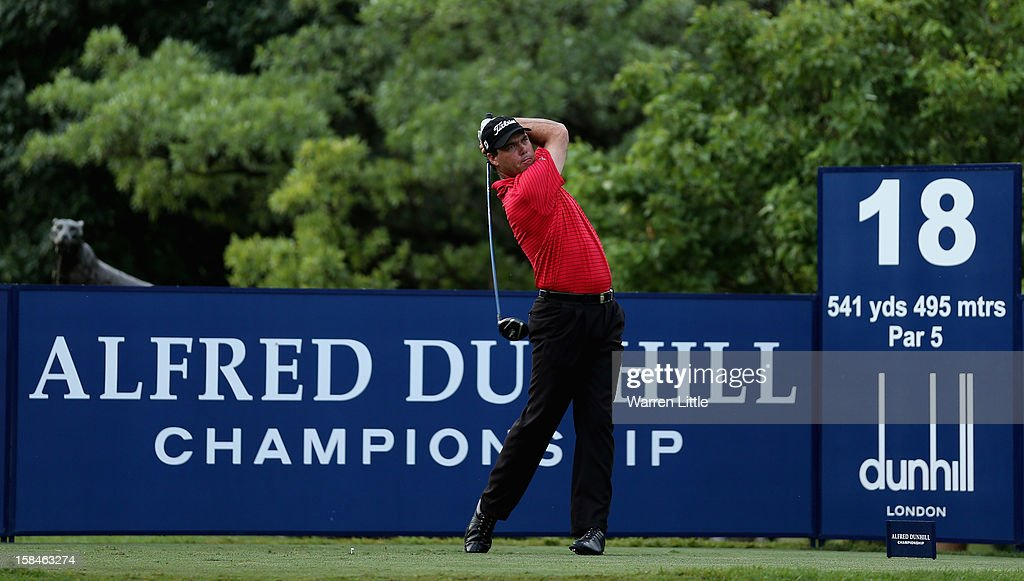 Keith Horne of South Africa tees off on the 18th hole during the final round of the Alfred Dunhill Championship at Leopard Creek Country Golf Club on December 16, 2012 in Malelane, South Africa.