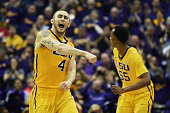 Keith Hornsby of the LSU Tigers reacts to a three point shot during the second half of a game against the Kentucky Wildcats at the Pete Maravich...