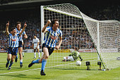 Keith Houchen of Coventry City celebrates scoring the second goal past goalkeeper Ray Clemence of Tottenham Hotspur during the FA Cup Final on 16 May...
