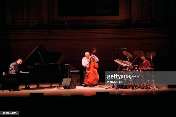 Keith Jarrett performing at Carnegie Hall on Tuesday night June 26 2001 as part of JVC Jazz FestivalThis imageFrom left Keith Jarrett Gary Peacock...
