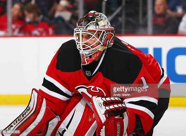 Keith Kinkaid of the New Jersey Devils defends his net against the Boston Bruins during the game at the Prudential Center on March 29 2016 in Newark...