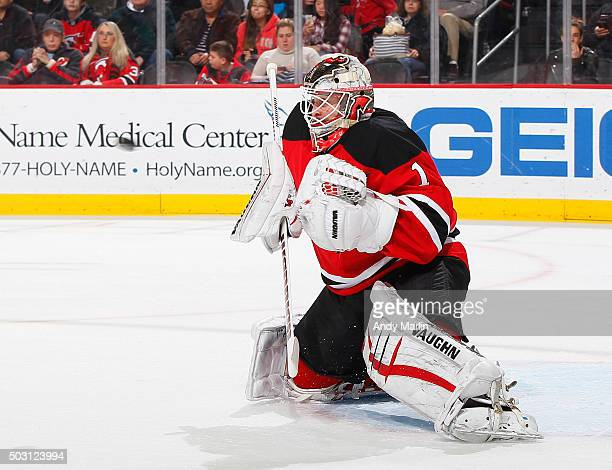 Keith Kinkaid of the New Jersey Devils defends his net during the game against the Carolina Hurricanes at the Prudential Center on December 29 2015...