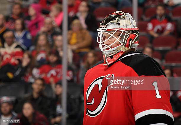 Keith Kinkaid of the New Jersey Devils during a break in action against the Vancouver Canucks during the third period at the Prudential Center on...