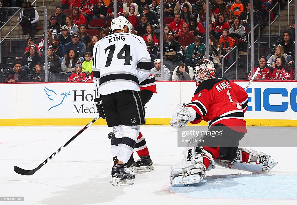 <a gi-track='captionPersonalityLinkClicked' href=/galleries/search?phrase=Keith+Kinkaid&family=editorial&specificpeople=7645382 ng-click='$event.stopPropagation()'>Keith Kinkaid</a> #1 of the New Jersey Devils eyes the puck after making a save against the Los Angeles Kings during the game at the Prudential Center on February 14, 2016 in Newark, New Jersey.
