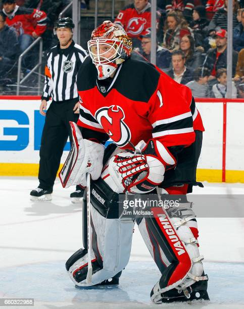 Keith Kinkaid of the New Jersey Devils in action against the Dallas Stars on March 26 2017 at Prudential Center in Newark New Jersey The Stars...