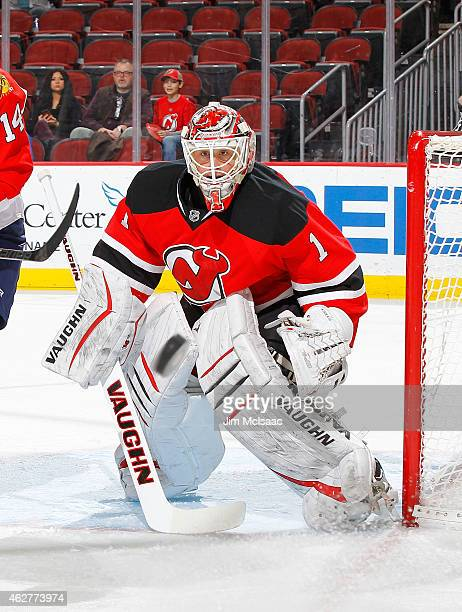 Keith Kinkaid of the New Jersey Devils in action against the Florida Panthers at the Prudential Center on January 31 2015 in Newark New Jersey The...