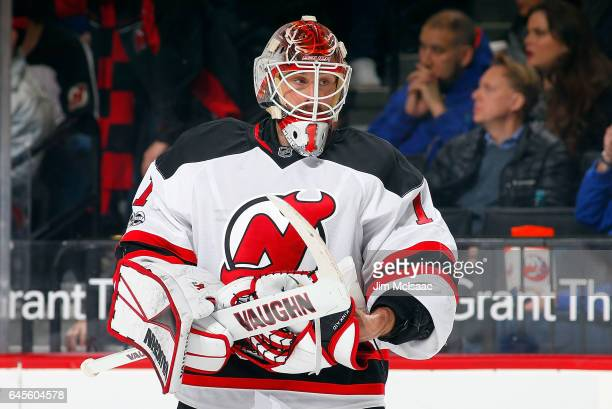 Keith Kinkaid of the New Jersey Devils in action against the New York Islanders on February 19 2017 at Barclays Center in the Brooklyn borough of New...