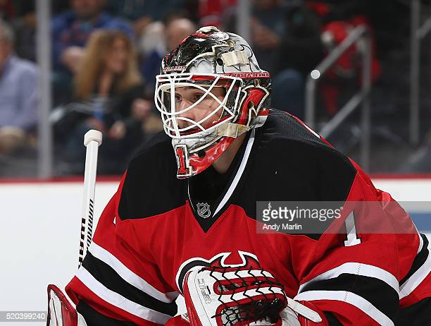 Keith Kinkaid of the New Jersey Devils looks on during the game against the Tampa Bay Lightning at the Prudential Center on April 7 2016 in Newark...