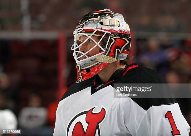 Keith Kinkaid of the New Jersey Devils looks on during warmups prior to his game against the Philadelphia Flyers on February 13 2016 at the Wells...