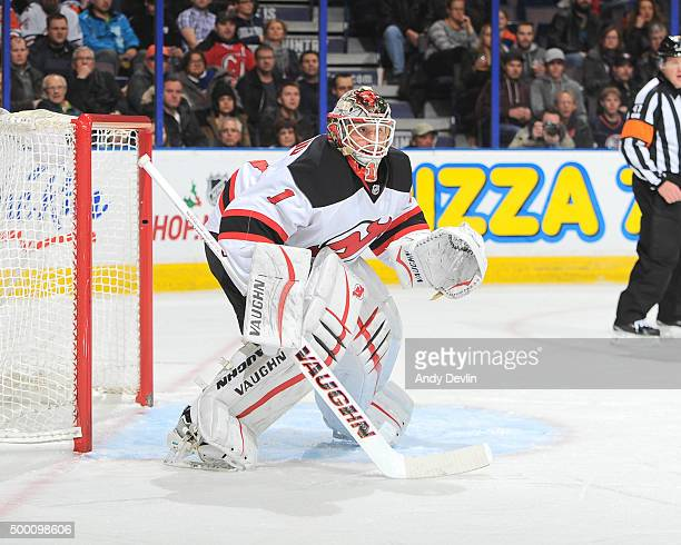 Keith Kinkaid of the New Jersey Devils prepares to make a save during a game against the Edmonton Oilers on November 20 2015 at Rexall Place in...