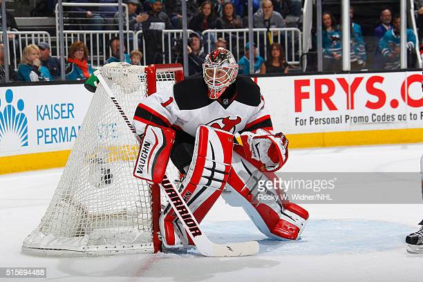 Keith Kinkaid of the New Jersey Devils protects the net against the San Jose Sharks at SAP Center on March 10 2016 in San Jose California