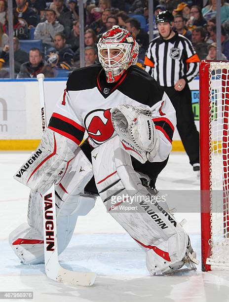 Keith Kinkaid of the New Jersey Devils tends goal against the Buffalo Sabres on March 20 2015 at the First Niagara Center in Buffalo New York