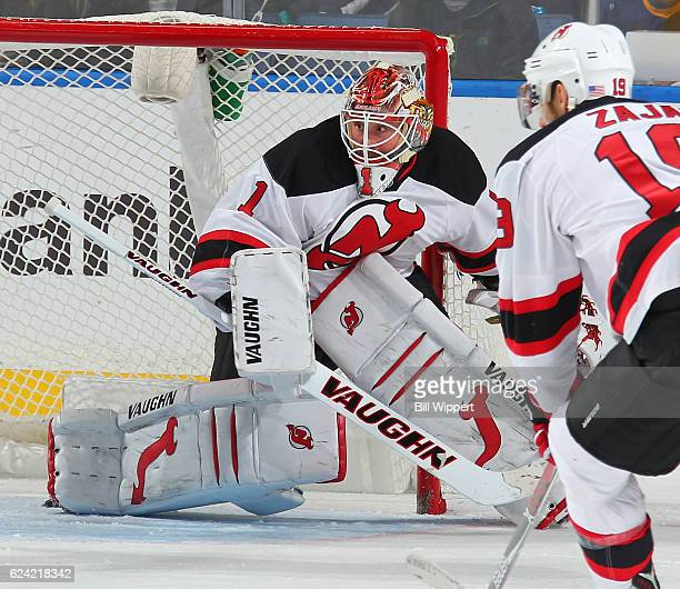 Keith Kinkaid of the New Jersey Devils tends goal against the Buffalo Sabres during an NHL game at the KeyBank Center on November 11 2016 in Buffalo...