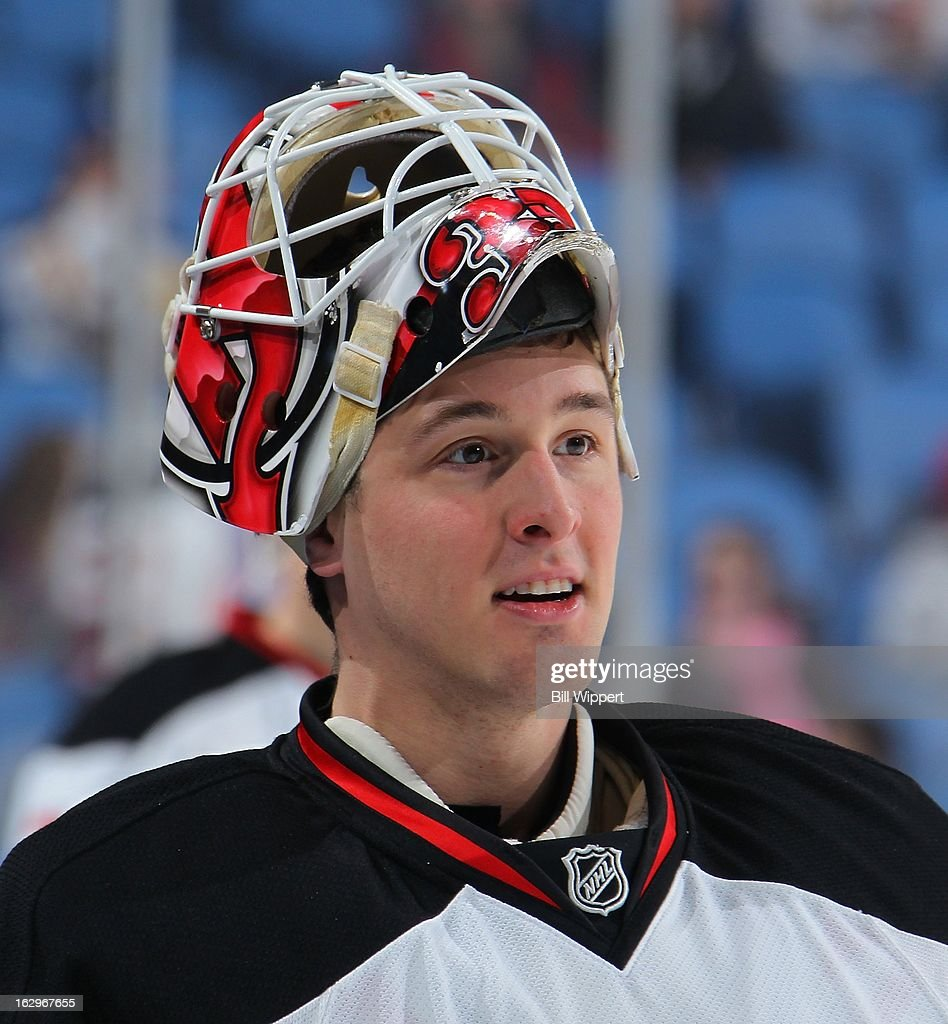 Keith Kinkaid #35 of the New Jersey Devils warms up before their game against the Buffalo Sabres on March 2, 2013 at the First Niagara Center in Buffalo, New York.