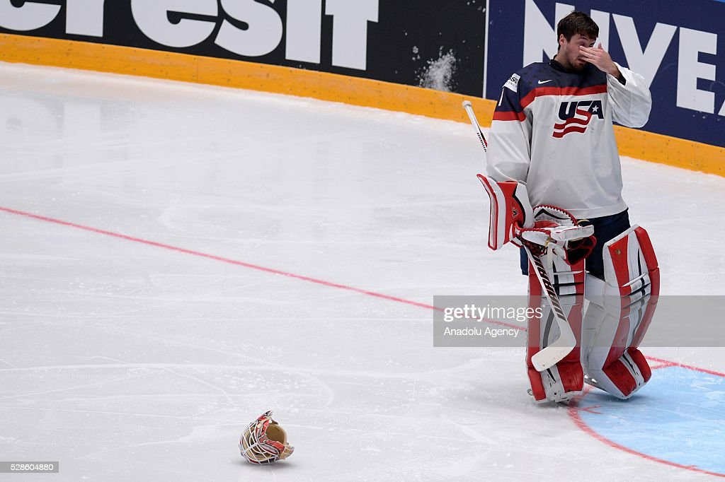 Keith Kinkaid of USA is seen during the IIHF ice hockey world championship preliminary round Group B game between USA and Canada, on May 06, 2016, St. Petersburg, Russia.