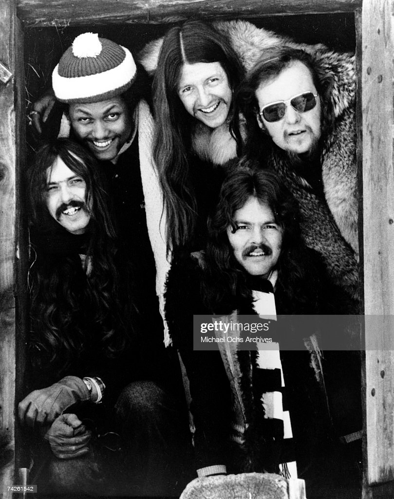 Keith Knudsen, Tiran Porter, Patrick Simmons, John Hartman and Tom Johnston of the rock and roll band 'The Doobie Brothers' pose for a portrait in 1973.