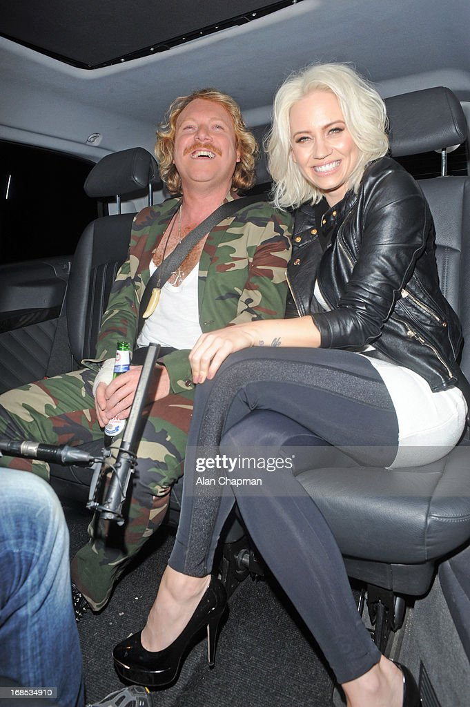 Keith Lemon and <a gi-track='captionPersonalityLinkClicked' href=/galleries/search?phrase=Kimberly+Wyatt&family=editorial&specificpeople=678958 ng-click='$event.stopPropagation()'>Kimberly Wyatt</a> sighting arrving at Funky Buddah Berkeley Street Mayfair on May 10, 2013 in London, England.