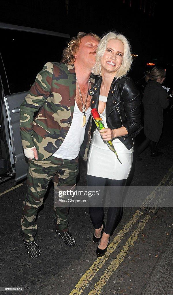 Keith Lemon and Kimberly Wyatt sighting arrving at Funky Buddah Berkeley Street Mayfair on May 10, 2013 in London, England.