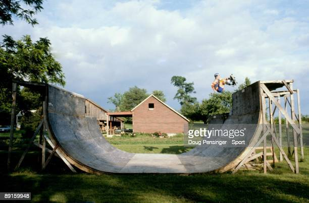 Keith Lenharr does a frontside air above the copiing of the half pipe at the Shady Grove Ramp in June 1982 in Shady Grove Pennsylvania The ramp...