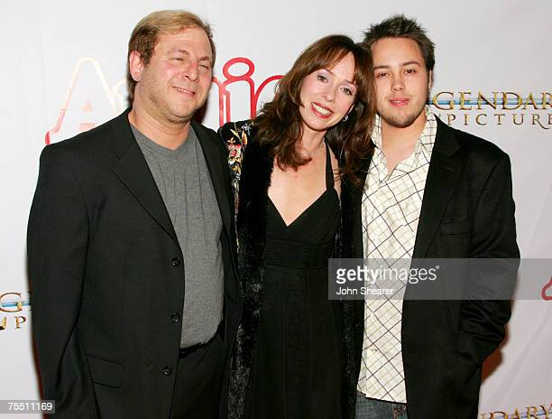 Keith Levenson Mackenzie Phillips and son Shane Barakan at the Pantages Theatre in Hollywood California