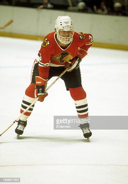 Keith Magnuson of the Chicago Blackhawks waits for the faceoff during an NHL game against the New York Rangers circa 1977 at the Madison Square...