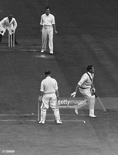Keith Miller of Australia is bowled out by Jim Laker of Surrey at the Oval London 2nd August 1956