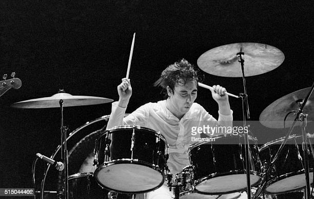 Keith Moon drummer with the British rock group The Who is lost in his work during a performance of its celebrated rock opera 'Tommy' at the...