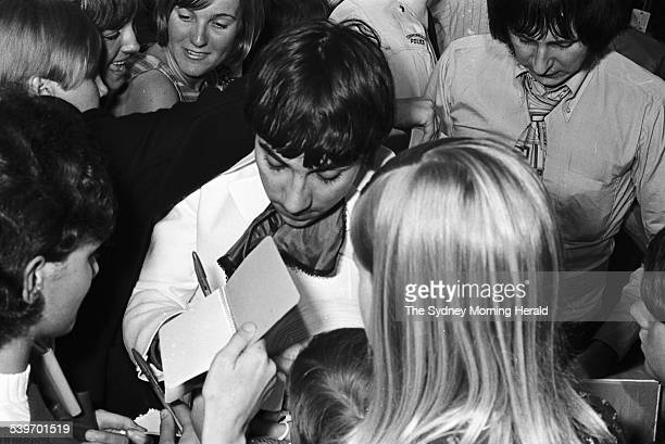 Keith Moon from English rock band The Who is greeted by fans at Sydney's International Airport as the band arrived for their Australian tour 19...