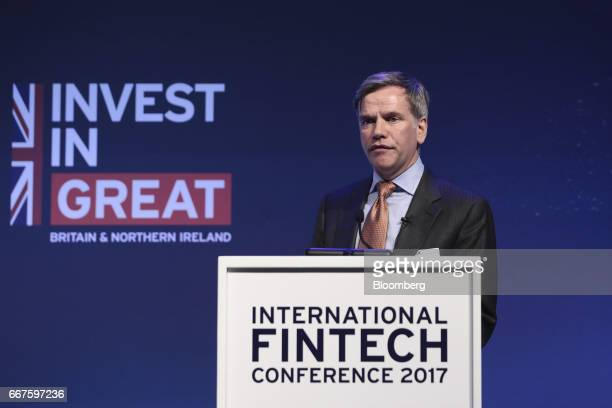Keith Morgan chief executive officer of the British Business Bank speaks during the International Fintech Conference in London UK on Wednesday April...