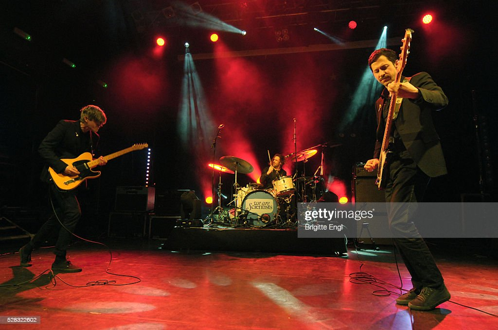 Keith Murray, Keith Carne and Chris Cain of We Are Scientists perform at KOKO on May 4, 2016 in London, England.