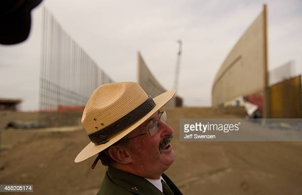 Keith Newlin deputy superintendent of the Flight 93 National Memorial Visitor Center Complex conducts a media tour of the construction site at the...