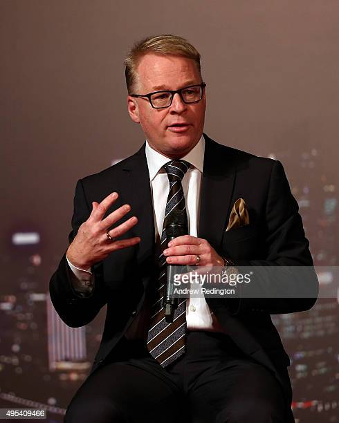 Keith Pelley addresses the assembled gathering during the HSBC Golf Sponsorship Renewal Announcement at the HSBC Golf Business Forum on November 3...