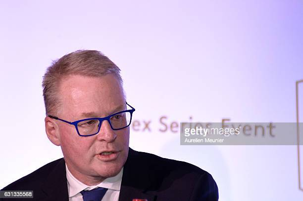 Keith Pelley addresses the press during the Open de France press conference on January 9 2017 in Paris France