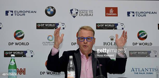 Keith Pelley Chief Executive of The European Tour addresses the assembled media during a press conference prior to the start of the DP World Tour...