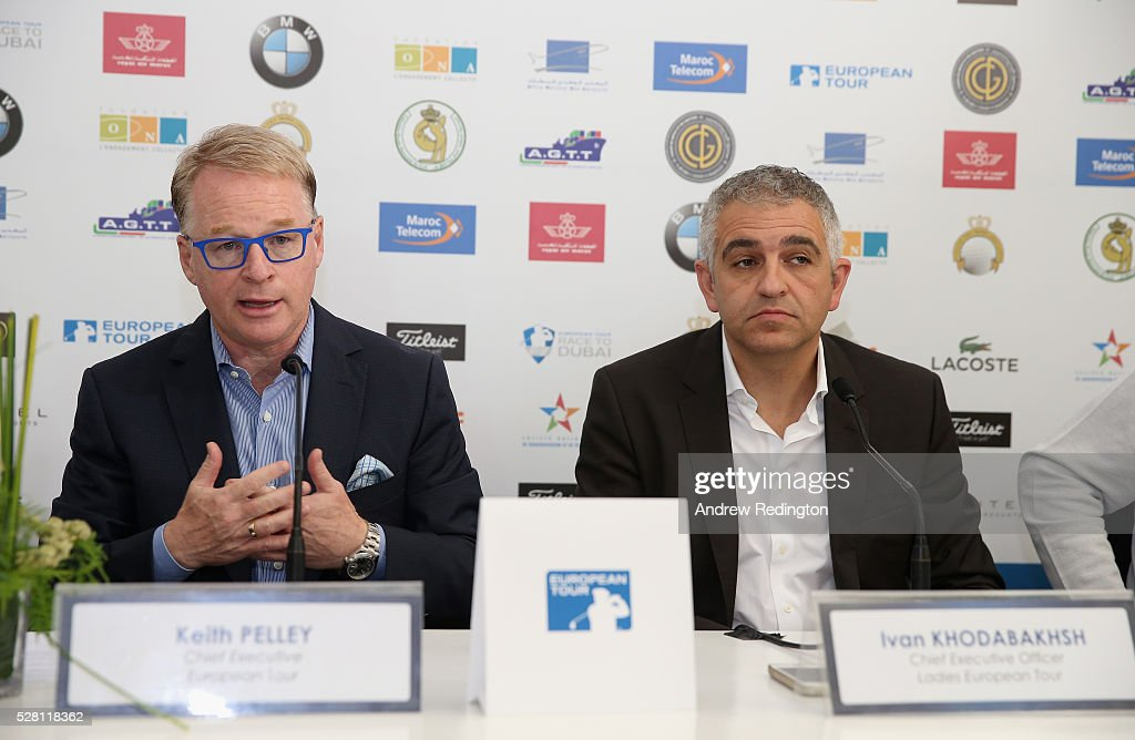 Keith Pelley, Chief Executive of The European Tour, and Ivan Khodabakhsh, Chief Executive Officer of the Ladies European Tour, attend a press conference prior to the start of the Trophee Hassan II at Royal Golf Dar Es Salam on May 4, 2016 in Rabat, Morocco.