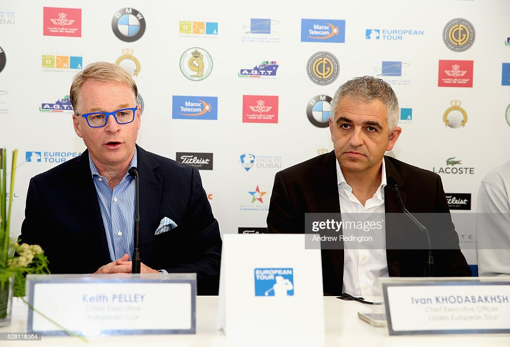 <a gi-track='captionPersonalityLinkClicked' href=/galleries/search?phrase=Keith+Pelley&family=editorial&specificpeople=8533833 ng-click='$event.stopPropagation()'>Keith Pelley</a>, Chief Executive of The European Tour, and Ivan Khodabakhsh, Chief Executive Officer of the Ladies European Tour, attend a press conference prior to the start of the Trophee Hassan II at Royal Golf Dar Es Salam on May 4, 2016 in Rabat, Morocco.