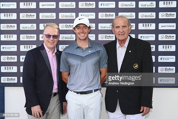 Keith Pelley Rory McIlroy of Northern Ireland and Colm McLoughlin pose for a photograph as they launch ticket sales for the 2016 Dubai Duty Free...
