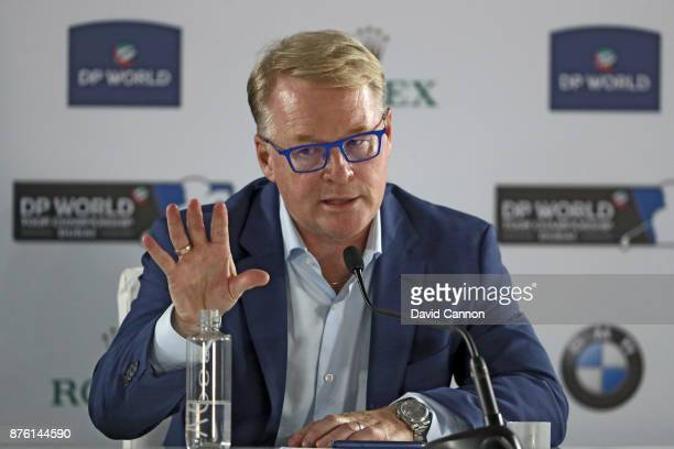 Keith Pelley the CEO of the European Tour speaks during his media conference during the final round of the 2017 DP World Tour Championship on the...