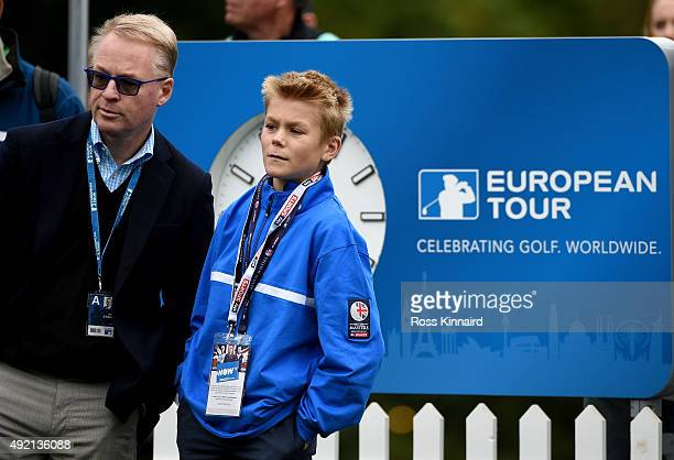 Keith Pelley the CEO of the PGA European Tour with his son Jason on the first tee during the third round of the British Masters at Woburn Golf Club...
