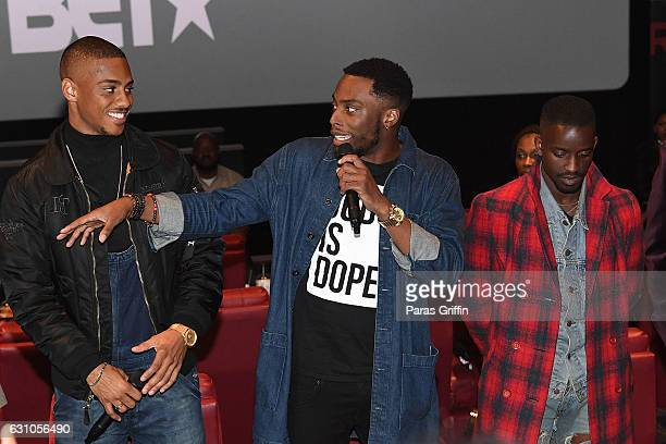 Keith Powers Woody McClain and Elijah Kelley attend BET's Atlanta screening of 'The New Edition Story' at AMC Parkway Pointe on January 5 2017 in...