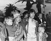 Keith Richard a member of the Rolling Stones escorts his partner actress Anita Pallenberg and their two children to a screening of Rolling Stones'...