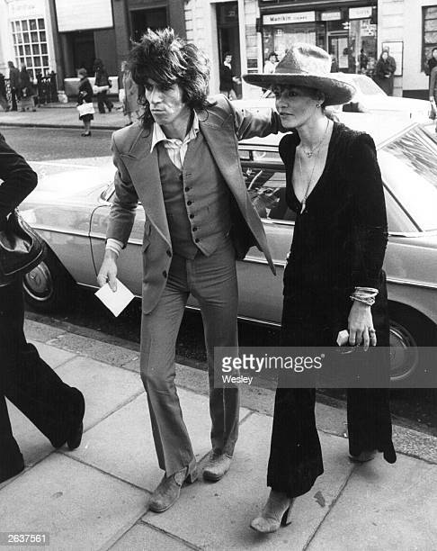 Keith Richards 32 year old guitarist with rock group the Rolling Stones and the last bachelor of the band and Anita Pallenberg who are to marry in...