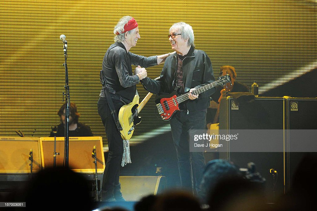 Keith Richards and Bill Wyman of the Rolling Stones perform at 02 Arena on November 25, 2012 in London, England.