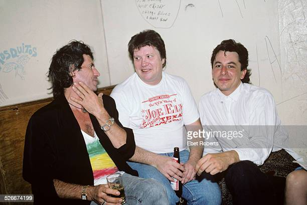 Keith Richards and Bobby Keys backstage with Joe Ely at the Lone Star Cafe in New York City on July 14 1987