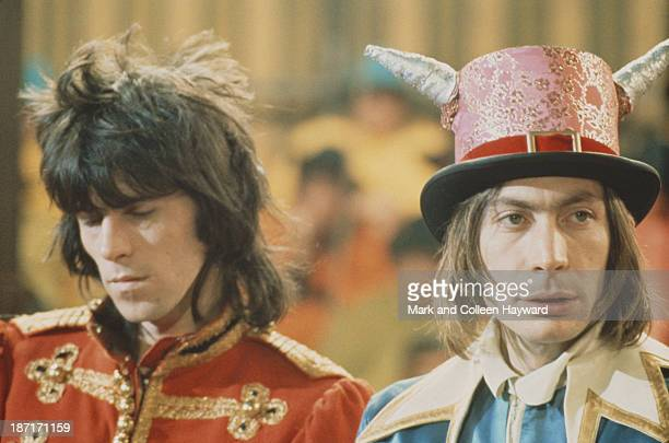 Keith Richards and Charlie Watts from The Rolling Stones pose on the set of the Rolling Stones Rock and Roll Circus at Intertel TV Studio in Wembley...