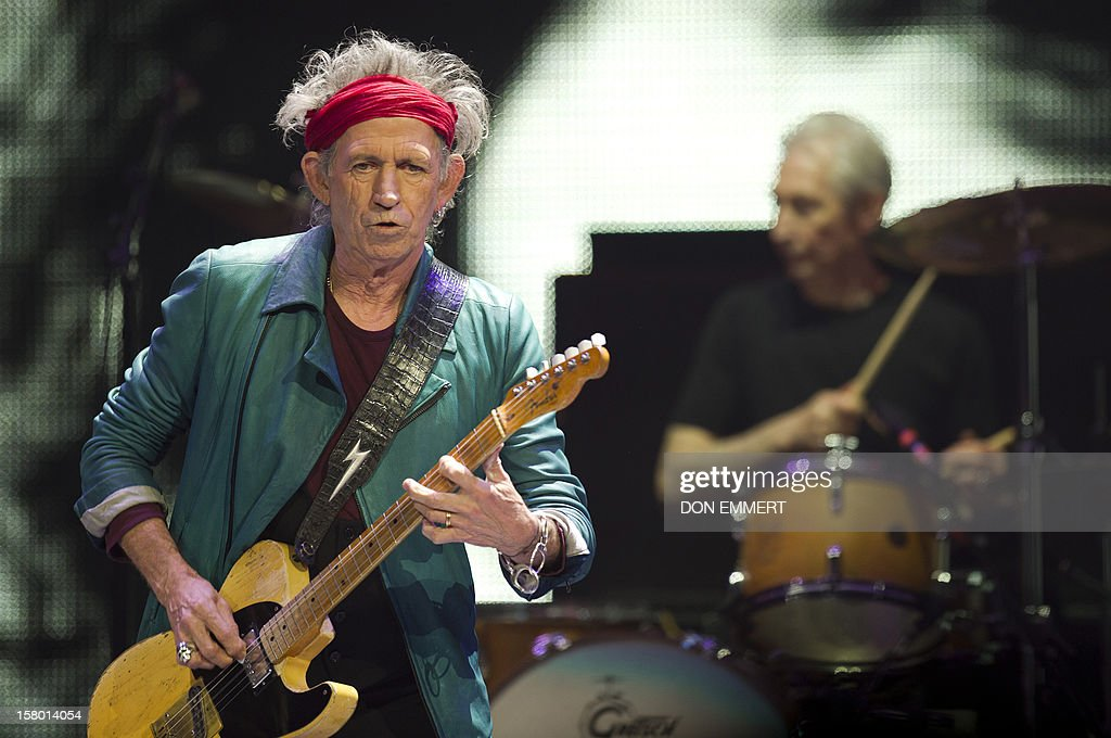 Keith Richards (L) and Charlie Watts of the Rolling Stones perform during 'The Stones-50 and Counting' tour December 8, 2012 at the Barclays Center in Brooklyn, NY. The band performed it's first American concert celebrating it's 50th anniversary.