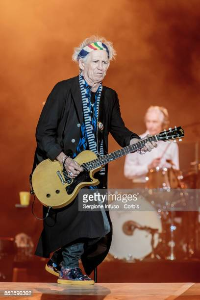 Keith Richards and Charlie Watts of The Rolling Stones perform on stage during Lucca Summer Festival 2017 on September 23 2017 in Lucca Italy