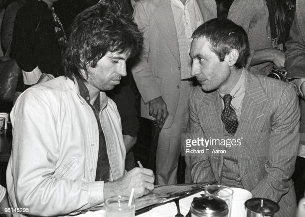Keith Richards and Charlie Watts posed at the launch party for the Rolling Stones album 'Love You Live' at Trax in New York in September 1977